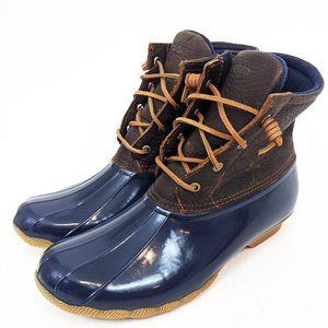 Sperry Saltwater Leather Duck Boots NEW 12 Navy